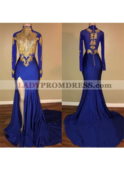 Charming African Royal Blue Side Slit Sheath Long Sleeves Prom Dresses With Gold Appliques