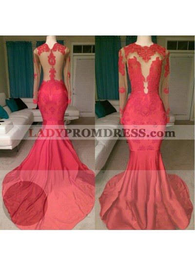 2018 Red Mermaid See Through Long Sleeves Satin Appliques Long Prom Dresses