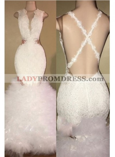 Sexy Mermaid Backless White Pleated Long African Prom Dresses With Appliques