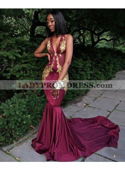 Sexy Mermaid Burgundy V Neck With Gold Appliques Long African Prom Dresses