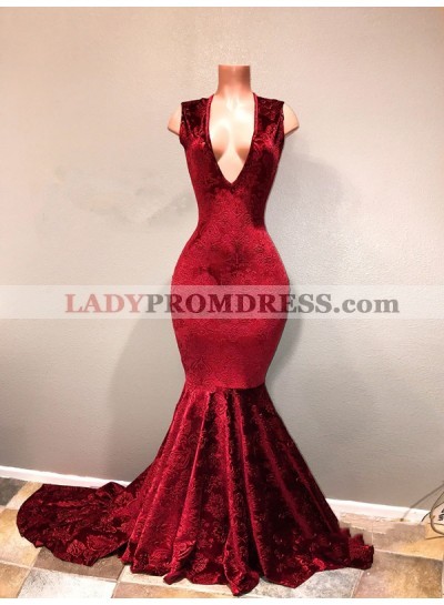 Sexy Burgundy Mermaid Deep V Neck Lace Long African Prom Dresses