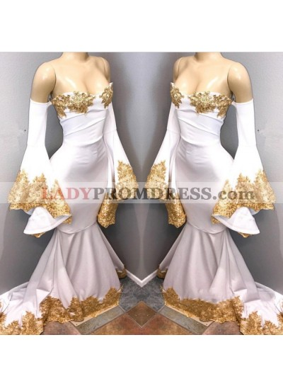 White Off Shoulder Mermaid Long Sleeves Prom Dresses With Gold Appliques African Prom Dresses