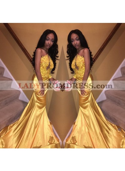 Gold One Shoulder Elastic Satin With Appliques Mermaid Long African Prom Dresses