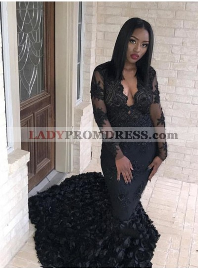 Sexy Black Mermaid Long Sleeves Pleated V Neck African Tulle Long Prom Dresses