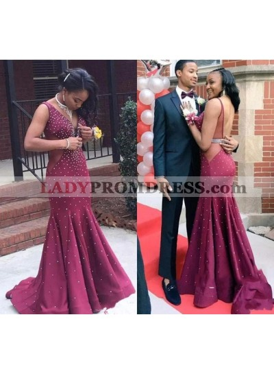 Charming Long Burgundy V Neck Beaded African Ruffles Backless Prom Dresses