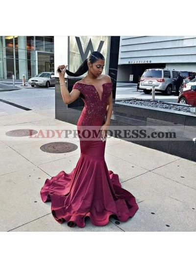 Burgundy Mermaid Off Shoulder With Appliques Deep V Neck Elastic Satin Long Prom Dresses