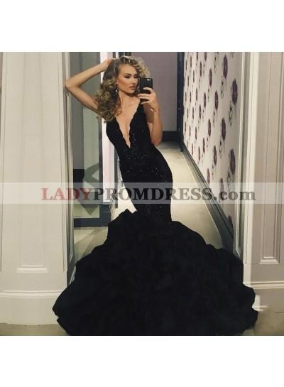 Sexy Black Deep V Neck Mermaid Ruffles Appliques Long Prom Dresses