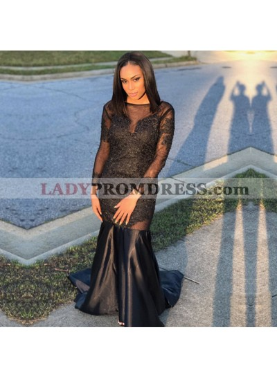 Long Sleeves See Through Black Sheath Long Elastic Satin Prom Dresses With Appliques