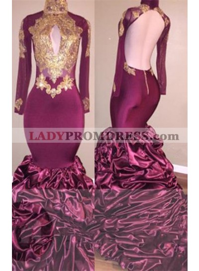 Sexy Mermaid African Burgundy With Gold Appliques Ruffles Long Sleeves Backless Prom Dresses