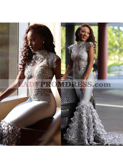 Amazing Silver Rose Decoration Middle See Through High Neck African Mermaid Long Prom Dresses