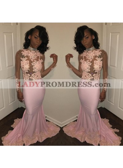 Cheap Pink Sheath See Through Long Sleeves African Long Prom Dresses