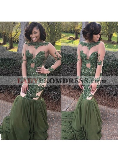 Green Mermaid Long Sleeves See Through Long Sleeves 2021 African Prom Dresses