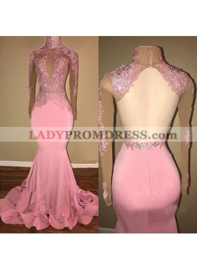 Alluring Pink Mermaid Long Sleeves Backless Elastic Satin Open Front High Neck Prom Dresses 2021