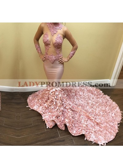 Luxury Pink Mermaid Long Train Long Sleeves See Through Prom Dresses With Leaves Decoration