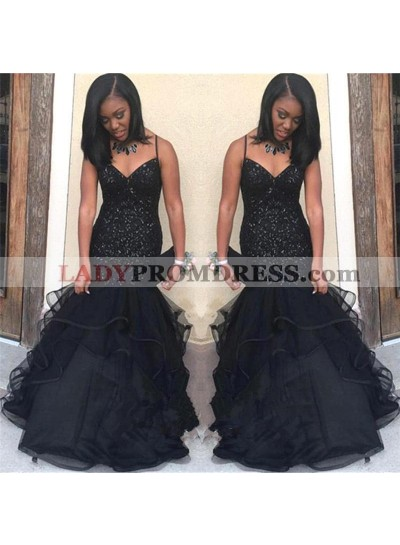 Black Sweetheart Long Tulle Mermaid Spaghetti Straps Mermaid African Prom Dresses