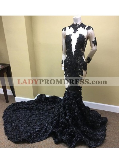 Alluring Mermaid Black See Through Long Sleeves Rose Long High Neck Prom Dresses