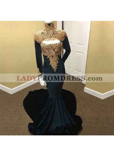 New Arrival Mermaid Dark Green With Gold Appliques Long Sleeves High Neck Velvet African Prom Dresses