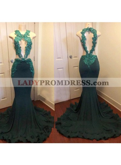 Dark Green Mermaid Open Front With Appliques Backless Long Prom Dresses