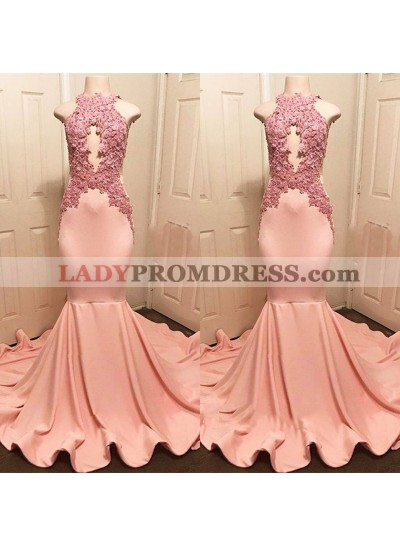 Newly Mermaid Dusty Rose High Neck Backless With Appliques Long Prom Dresses