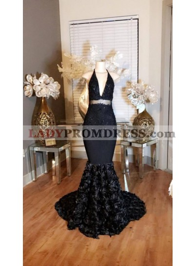 Sexy Black Mermaid Halter V Neck Rose Backless Prom Dresses With Appliques