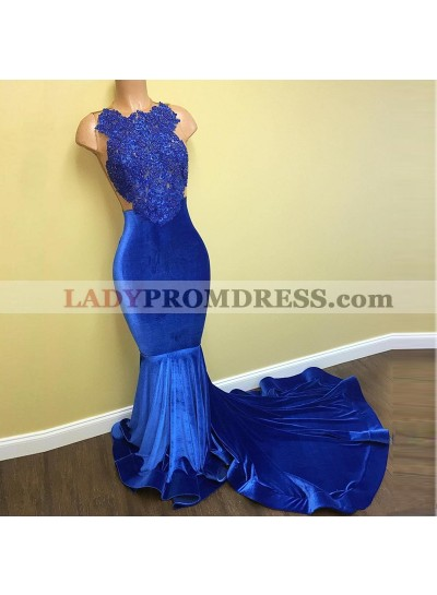 Sexy Royal Blue Mermaid Backless Long Velvet Prom Dresses With Appliques