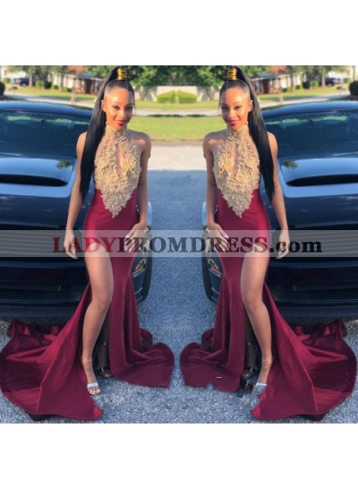 High Neck Burgundy With Gold Appliques Side Slit Satin Open Front Prom Dresses