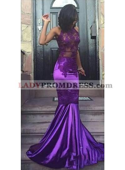 Sexy Purple Sheath High Neck See Through Elastic Satin African Prom Dresses