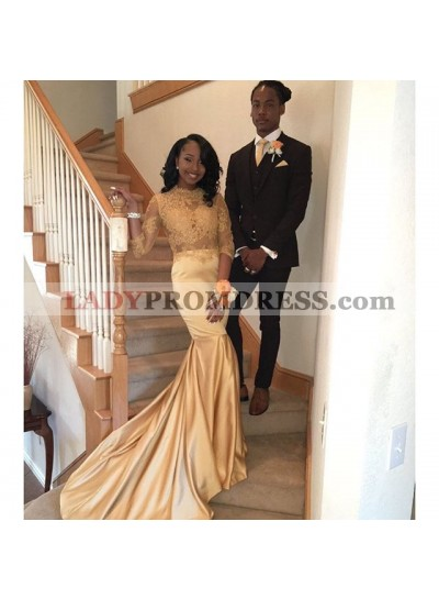 New Arrival Sheath Champagne Long Sleeves See Through African Long Prom Dresses