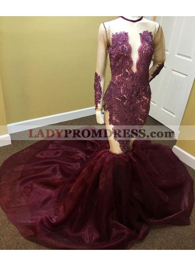 Amazing Mermaid Organza Burgundy Long Sleeves See Through Open Front Long Prom Dresses 2020