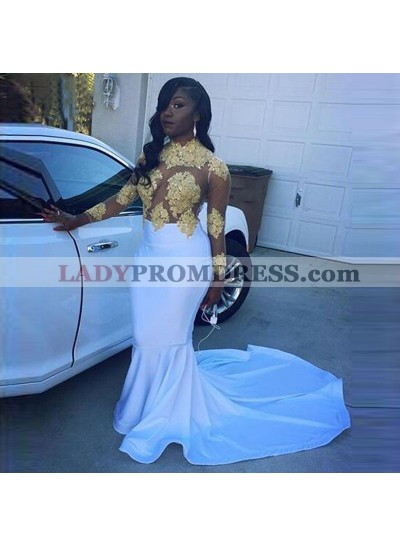 Long White Prom Dresses With Gold Appliques Mermaid Long Sleeves See Through