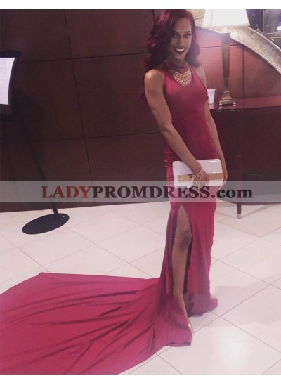 Simple Sheath Burgundy Side Slit Plain Halter Long Prom Dresses