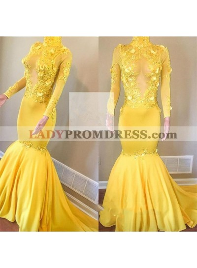 Mermaid Daffodil Long Sleeves See Through High Neck African Prom Dresses With Appliques