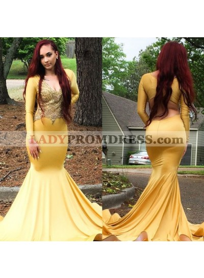 Sexy Mermaid Light Yellow Long Sleeves V Neck Elastic Satin Long Prom Dresses