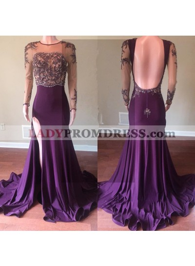 Grape Sheath Side Slit Long Sleeves See Through Beaded Backless Long Prom Dresses