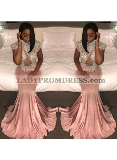 Charming Dusty Rose Sheath Beaded Capped Sleeves Open Front Long Prom Dresses