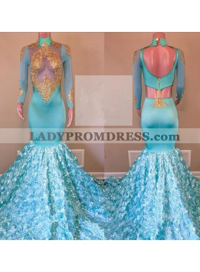 New Arrival Mermaid Blue With Gold Appliques Long Sleeves African See Through Rose Prom Dresses