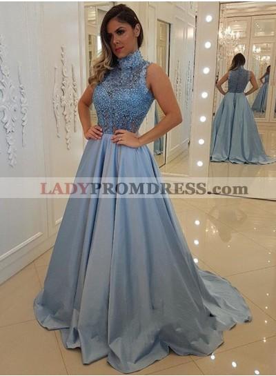 Elegant A Line Satin Blue High Neck Long Beaded See Through Long Prom Dresses