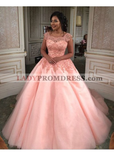 Elegant Ball Gown Pink Square Tulle High Waist Prom Dresses With Appliques