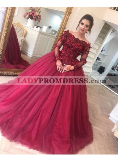 Off Shoulder Tulle Burgundy Long Sleeves Ball Gown Prom Dresses With Flowers