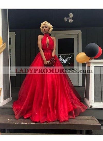 Elegant Red Halter Organza Backless Open Front Ball Gown Prom Dresses