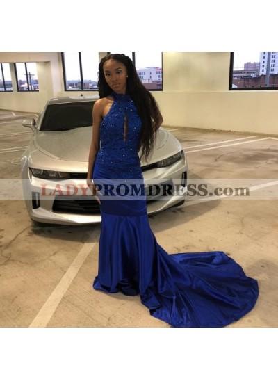 Elastic Satin High Neck Sheath Backless Long Royal Blue Prom Dresses