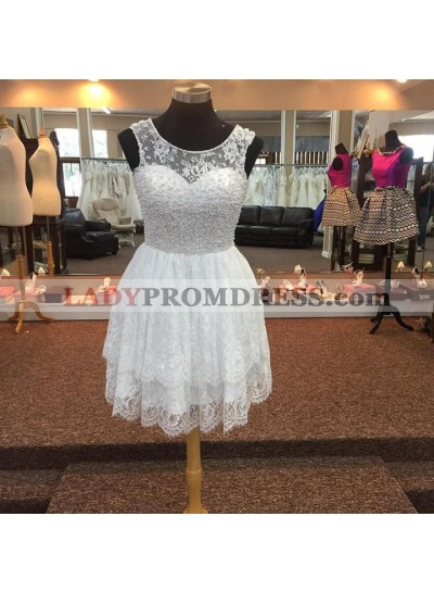White A Line Lace Knee Length Tiered Pearls Short Prom Dresses