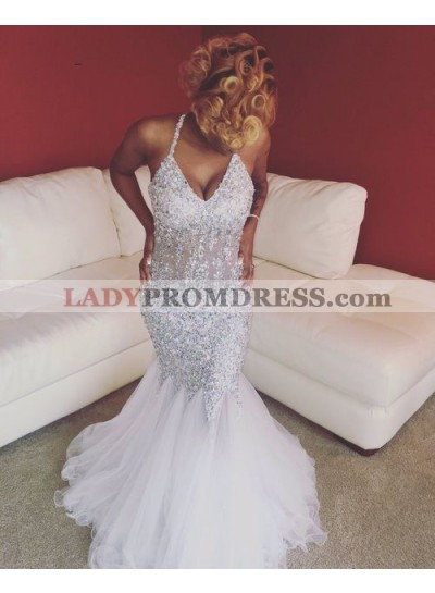 Sexy White Mermaid V Neck Beaded Tulle Halter Prom Dresses