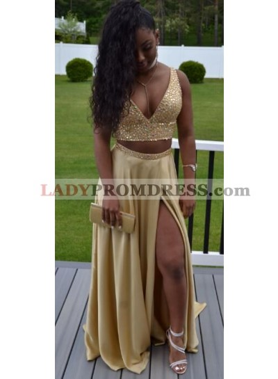 Gold A Line Two Pieces Deep V Neck Beaded Side Slit Satin Prom Dresses