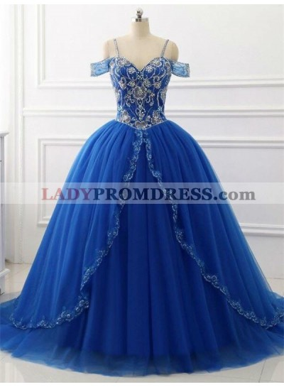 Elegant Off Shoulder Tulle Royal Blue Beaded Sweetheart Ball Gown Prom Dresses