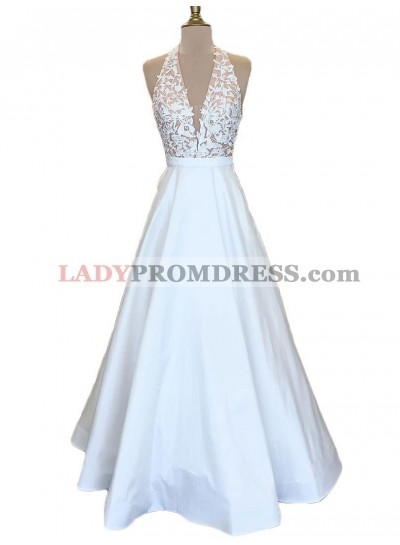 Cheap A Line V Neck White Satin Prom Dresses With Appliques