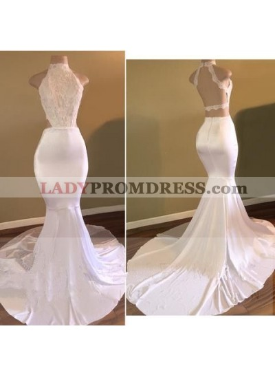 White Mermaid Backless Long African High Neck Lace Long Prom Dresses