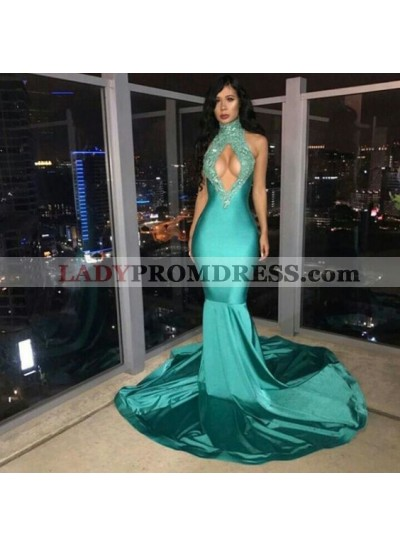 Sexy Elastic Satin Mermaid Jade High Neck Key Hole Long Prom Dresses