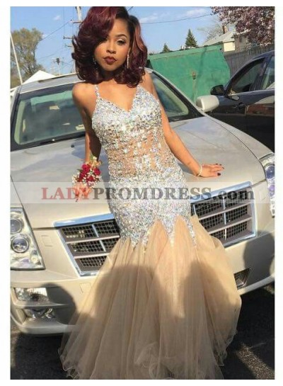 Sexy Mermaid Champagne Sweetheart Tulle Prom Dresses