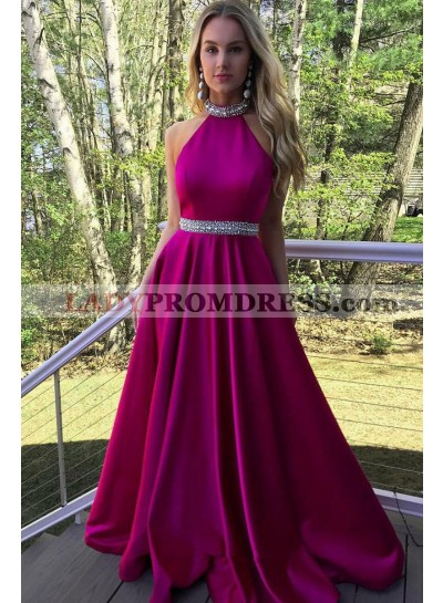 New Arrival A Line Satin Halter Beaded Backless Hot Pink Long Prom Dresses